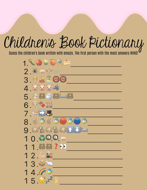 Donut Children S Book Emoji Pictionary Doughnut Baby Shower Book Sprinkle Baby Shower Baby Shower Games