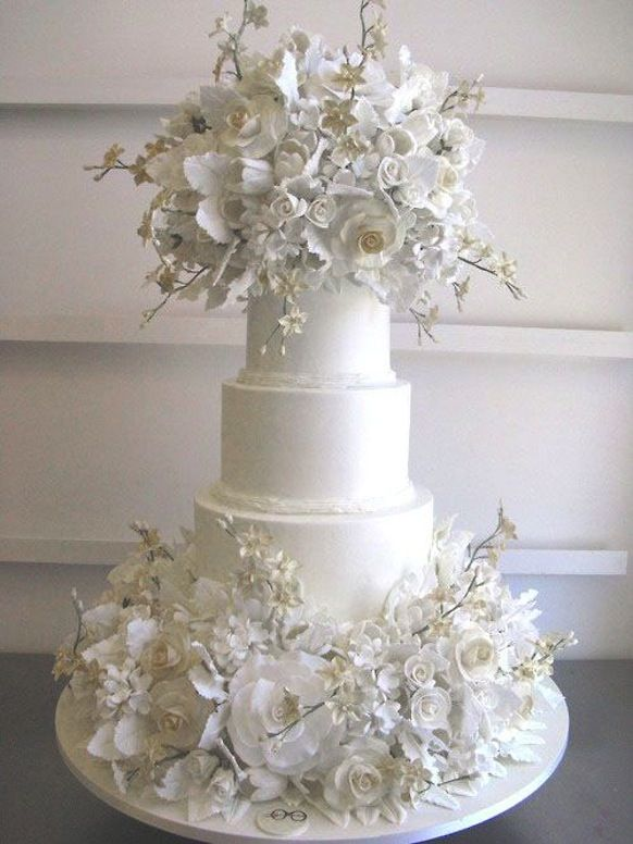 Dramatic White Wedding Cake \\\\ courtesy of Sylvia Weinstock via ...