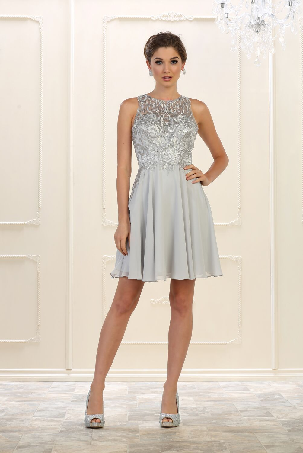 87bc14fd47dc This stunning sassy short dress comes with sleeveless. Embellish  embroideries rhinestones over mesh material at the top and chiffon skirt  material.