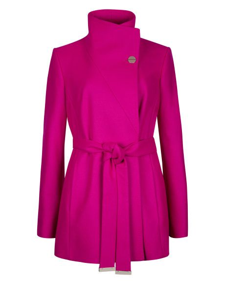 714051a873814 Short wrap coat - Deep Pink