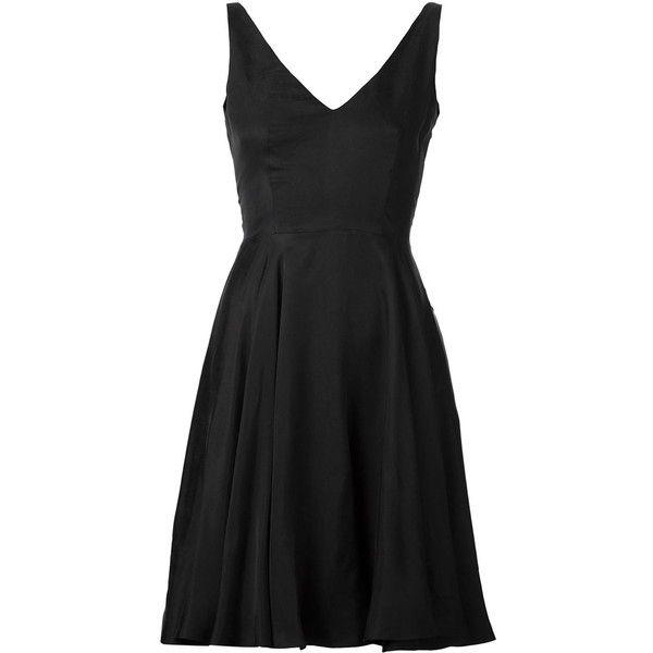 Iris Van Herpen Flared v-Neck Dress ($427) ❤ liked on Polyvore featuring dresses, black, black v neck dress, black dress, flared skirt, skater skirt and flared skater skirt