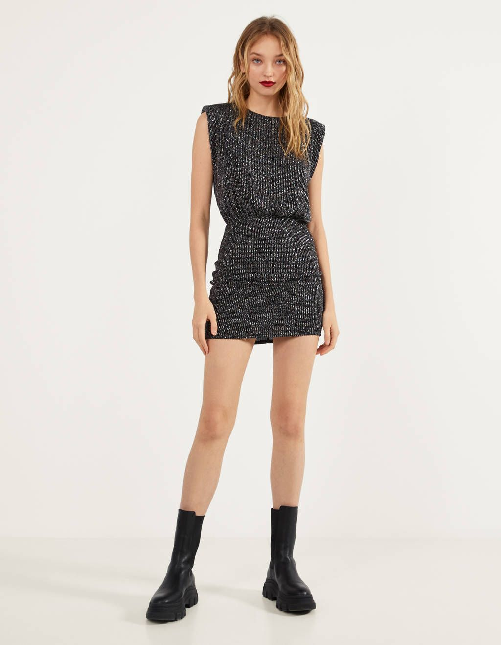 Metallic Thread Dress With Shoulder Pads Party Collection Bershka United States Shoulder Pad Dress Dresses Shoulder Pads [ 1317 x 1024 Pixel ]