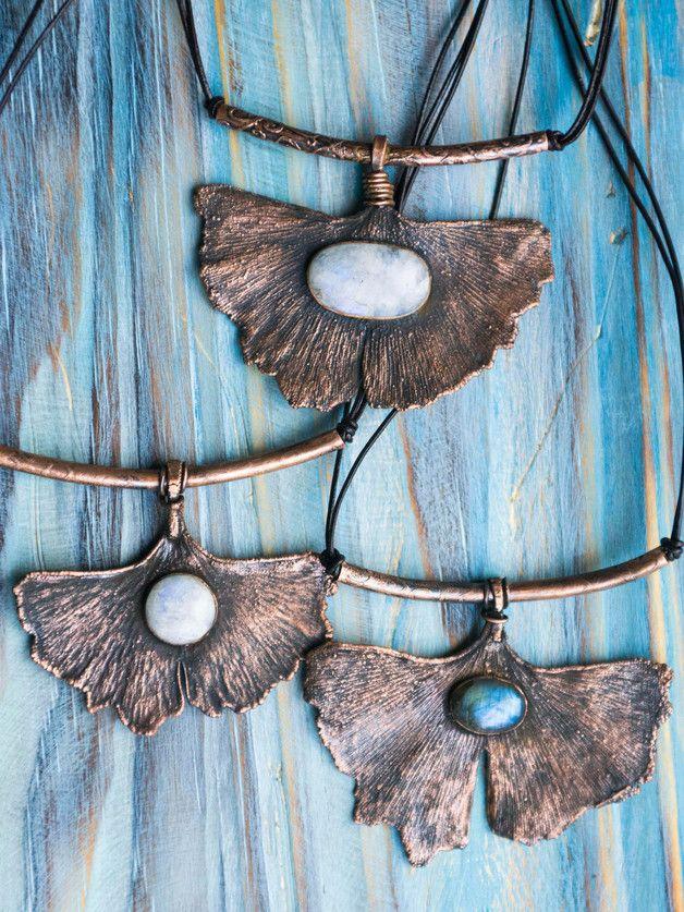 Great gift for boho lover. Pendants – Copper leaf statement pendant, Ginkgo pendant – a unique product by MoonDome via en.DaWanda.com