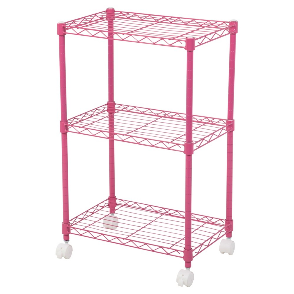 Iris 3-Tier Wire Shelf with Casters - Pink | Products