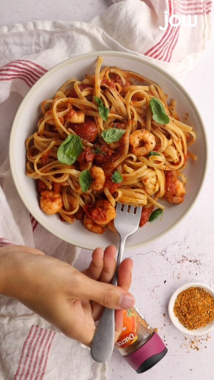 Pasta tomates & crevettes