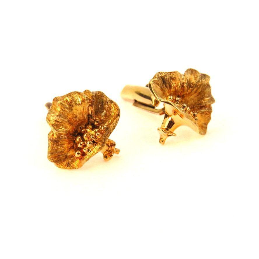 Gold over Sterling Flower Cufflinks