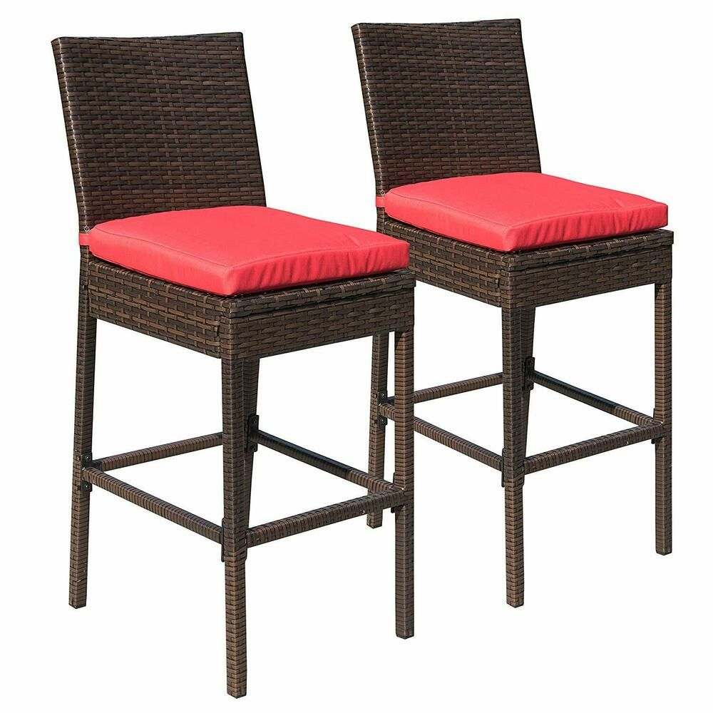 Wicker Chair Barstool Tall High Backrest Patio Furniture: Patio Wicker Barstool 2 Chairs Outdoor Rattan High Stools