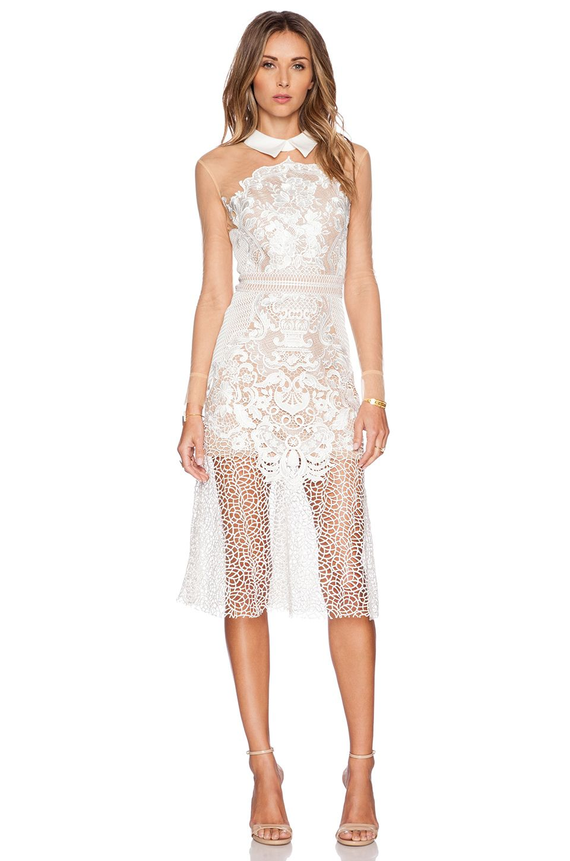 Self Portrait Lace Mix Shirt Dress In White