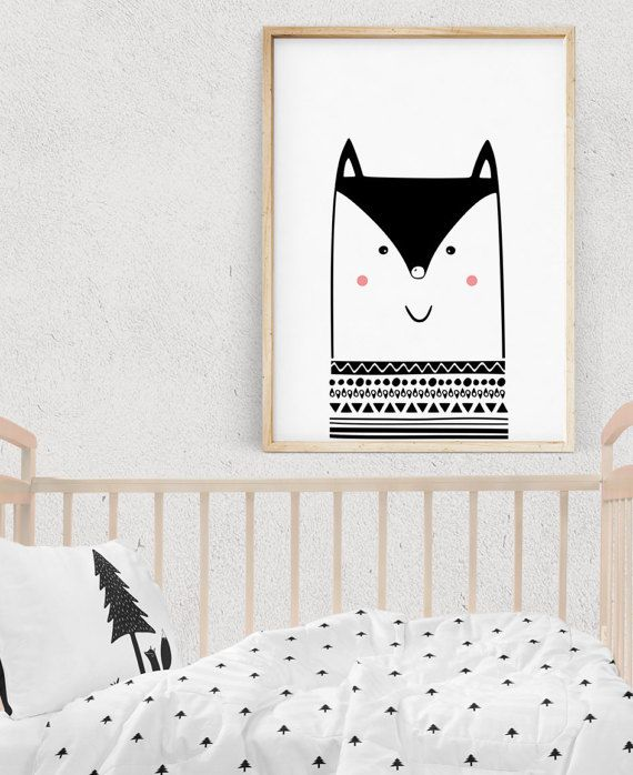25 Cute And Comfy Scandinavian Nursery Ideas: Fox Nursery Decor, Scandinavian Art Nursery, Woodland