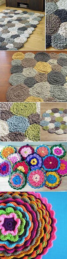 Как связать цветочные коврики крючком