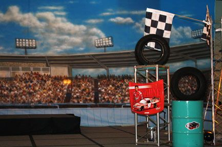 20' x 40' racing murals created the perfect backdrop for the band.