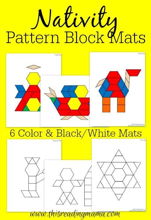 Free Nativity Pattern Block Mats Pattern Blocks Christmas