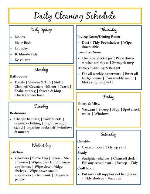 Cute Cleaning Schedule Idea Do I Think ID Actually Stick To It