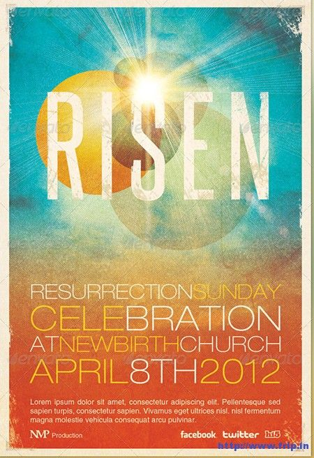 RisenChurchEventFlyer  Easter Flyer    Event Flyers