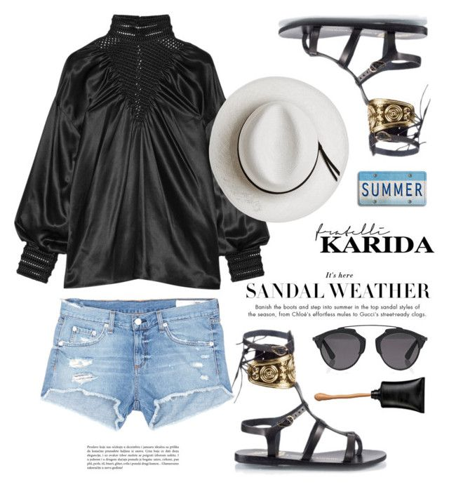 """Fratellikarida.com: Summer"" by hamaly ❤ liked on Polyvore featuring rag & bone/JEAN, Fendi, Calypso Private Label, Christian Dior, outfit, shoes, ootd and FratelliKarida"
