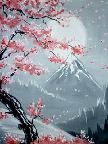 New Painting Inspiration Acrylic Cherry Blossoms Ideas Cherry Blossom Painting Abstract Art Painting Blossoms Art