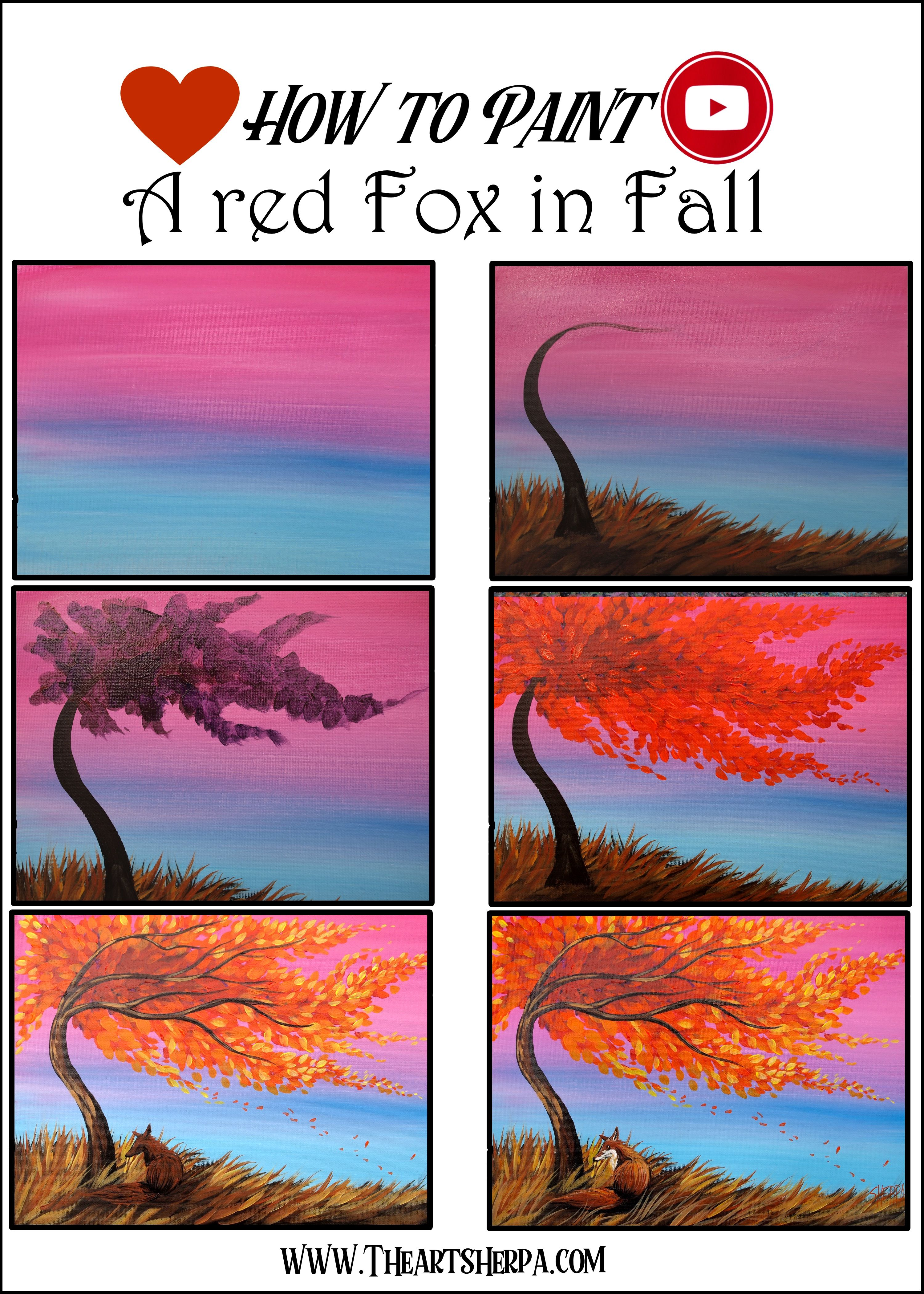 Beginner Step By Step How To Paint A Red Fox And Fall Landscape