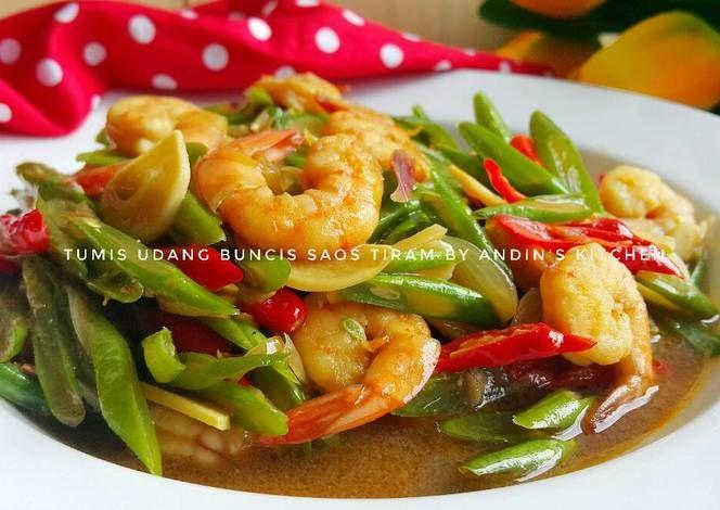 Resep Tumis Udang Buncis Saos Tiram Oleh Andin S Kitchen Resep Tumis Makanan Resep