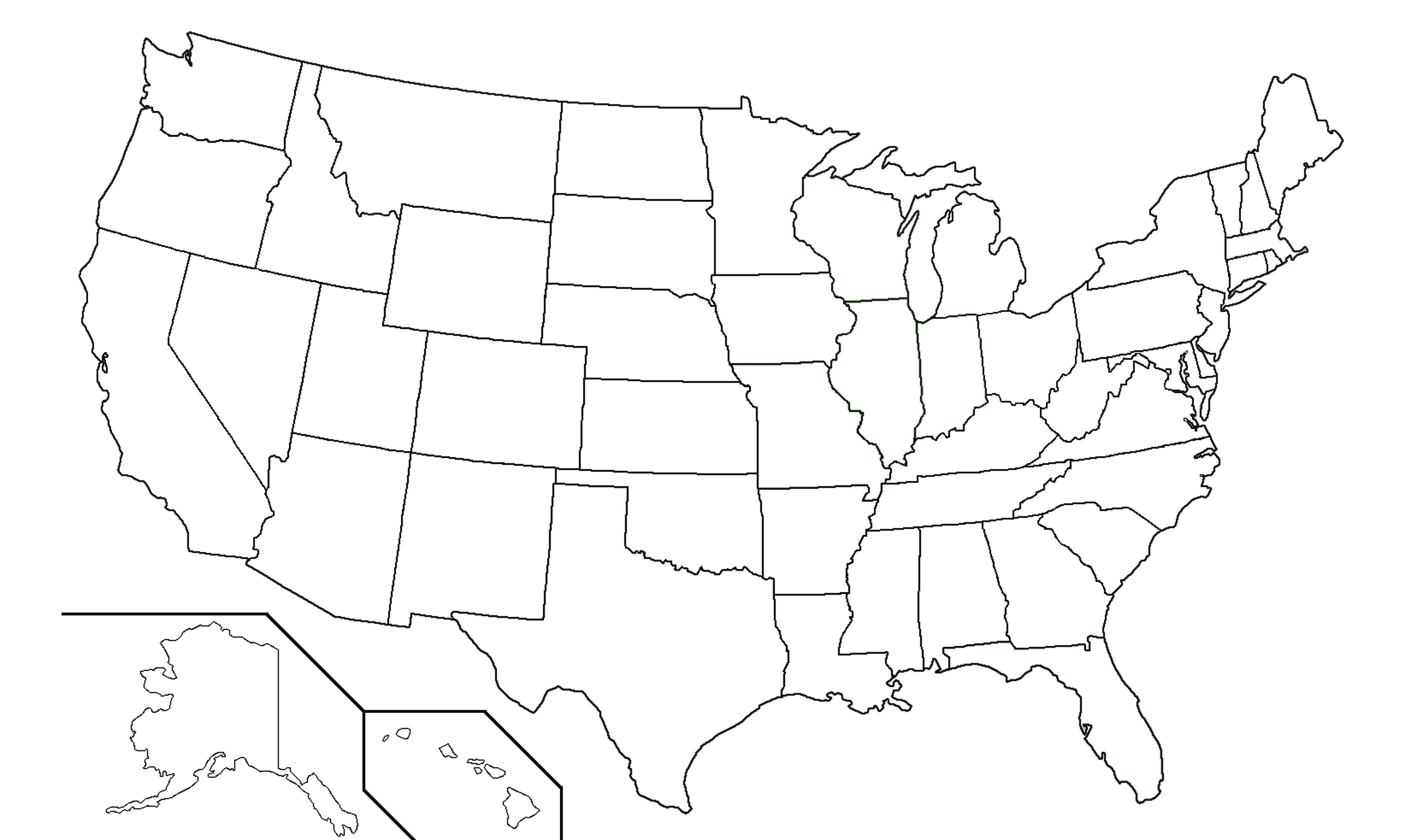 50 States Map Blank | Park Map