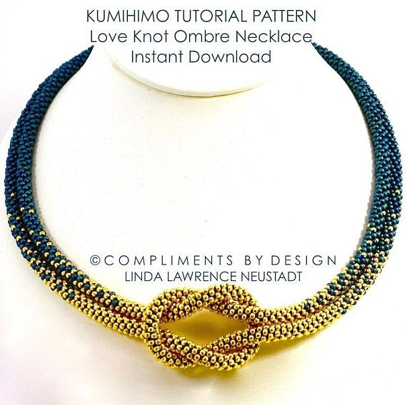 PATTERN KUMIHIMO NECKLACE Ombre Love Knot Pdf Digital File #crochetelements