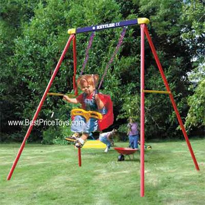Kettler Deluxe Single Swing Set With Baby Swing Primary Colors