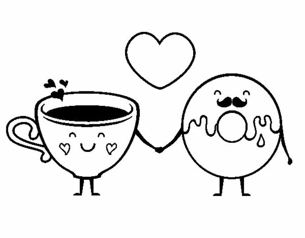 Café y dona rosquilla enamorados para san valentin | imágenes en ...