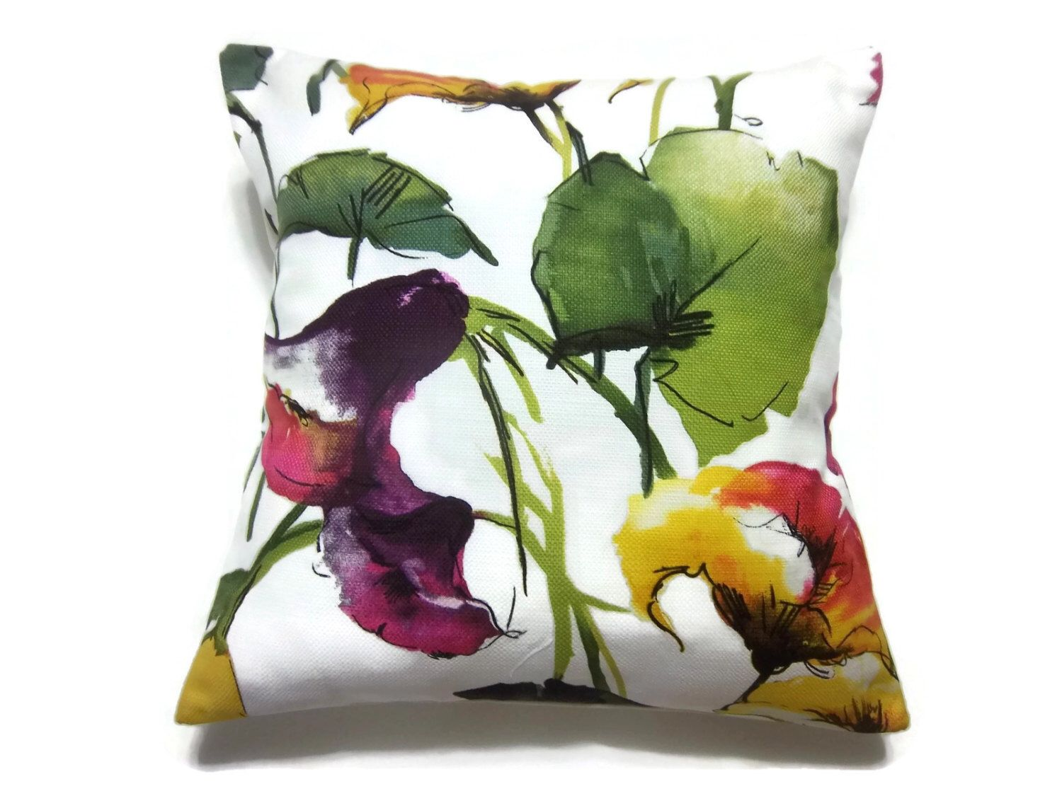 Decorative pillow cover bold floral design multicolored green blue