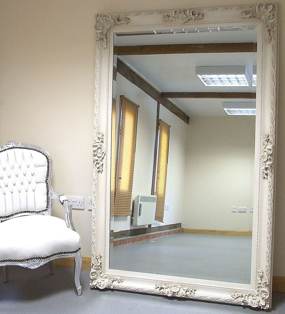 Paris ivory extra large shabby chic full length leaner for Full length mirror in living room
