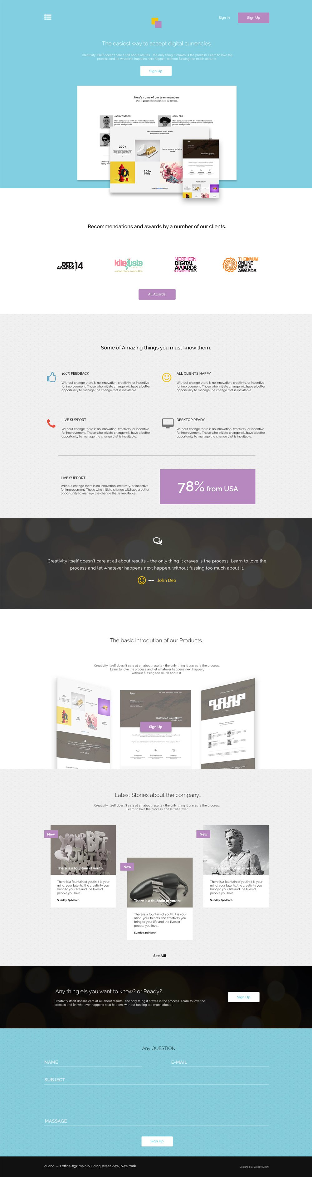 CLand – Landing Page Template PSD | Free Web Templates | Pinterest