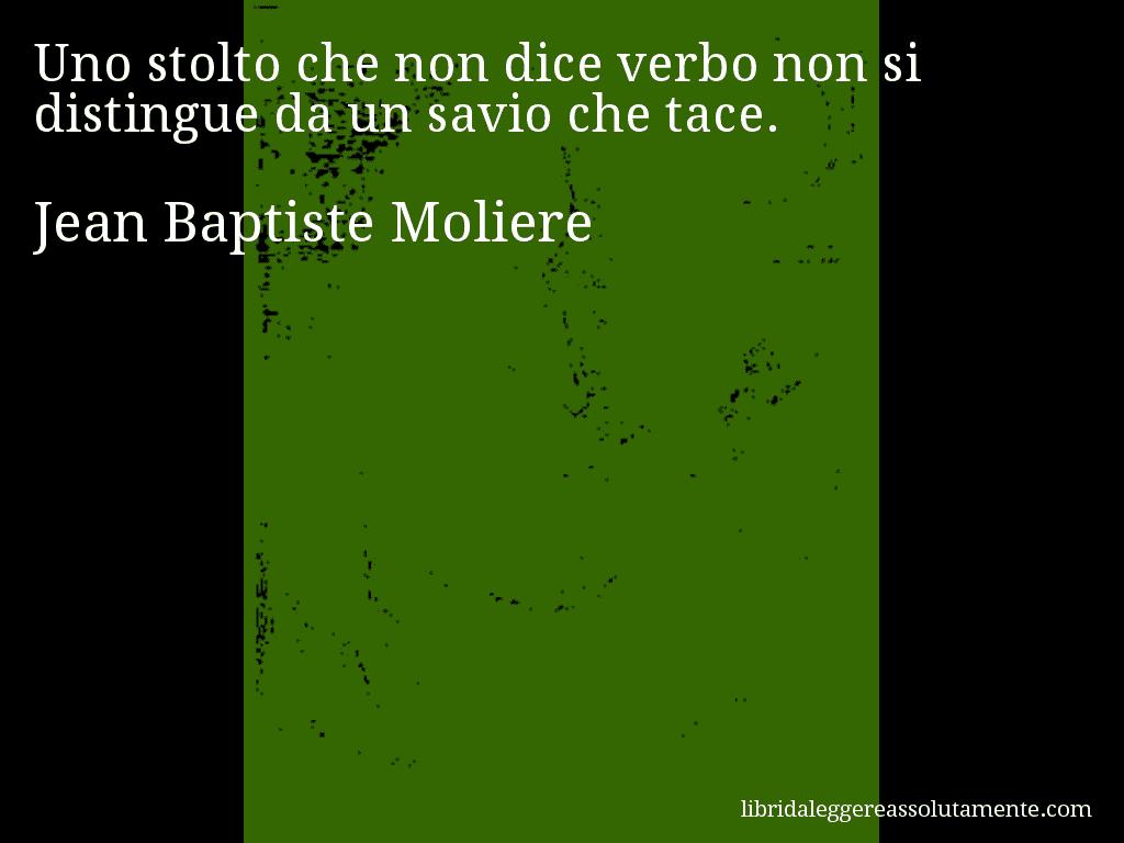 Aforisma di Jean Baptiste Moliere , Uno stolto che non dice verbo non si distingue da un savio che tace.