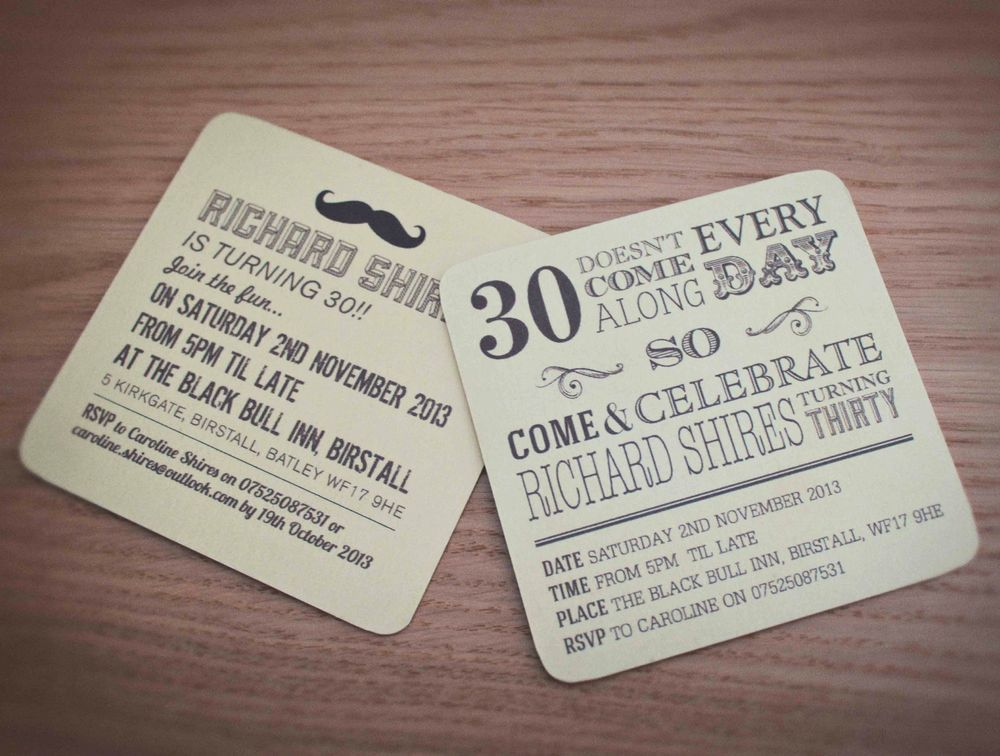 Personalised Beer Mats Invites Wedding Birthday Save