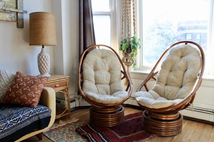 Pair Of Vintage Boho Rattan Swivel Chairs Rattan Chair Furniture Chair Design