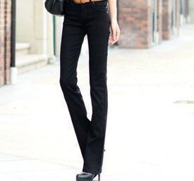 Candy color elastic slim boot cut jeans