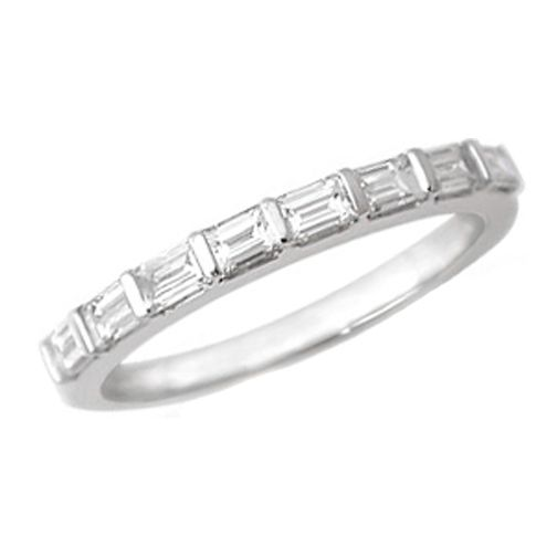 White Gold Baguette Cut Diamond Platinum Wedding Band G VS 051 Tcw