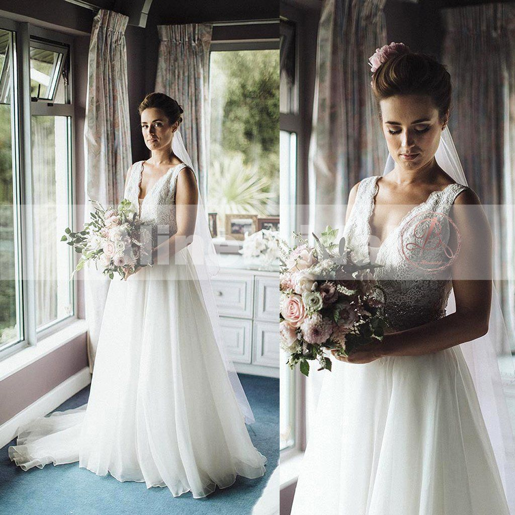 Simple country wedding ivory lace top tulle sleeveless aline