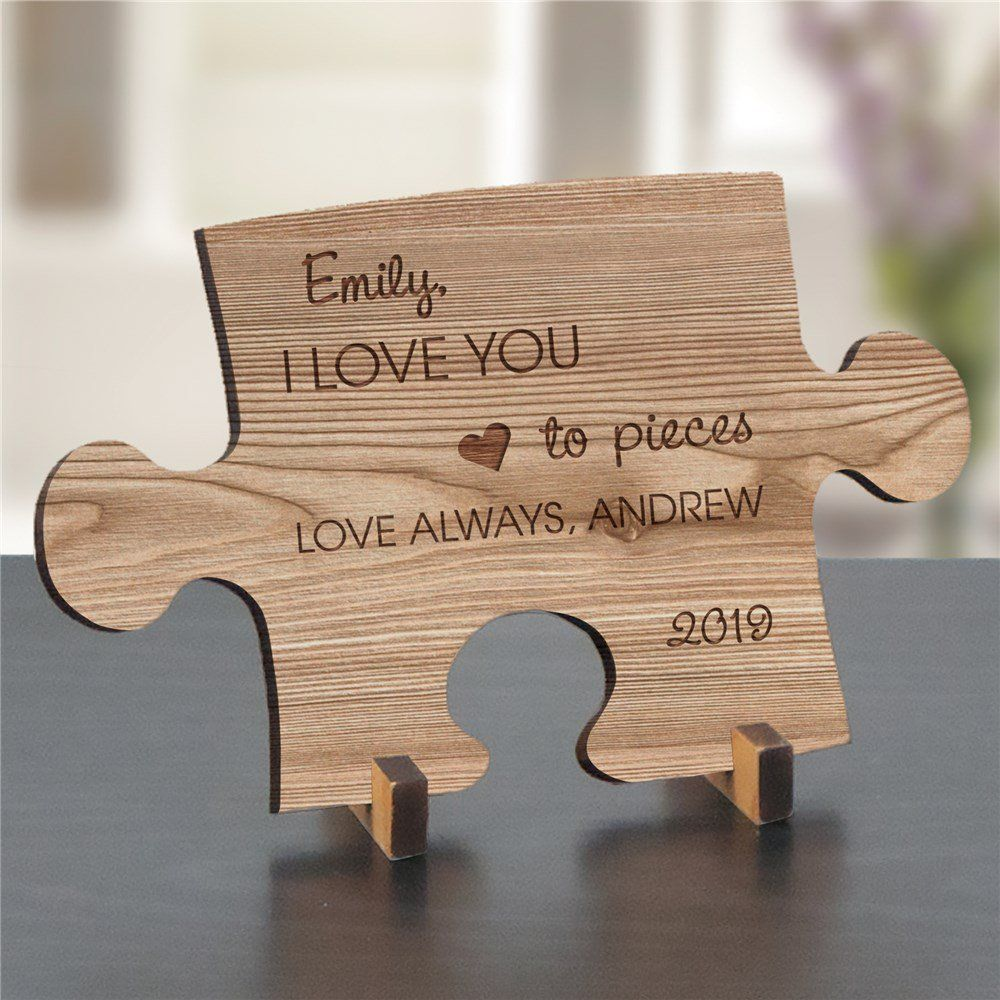Engraved love you to pieces wood puzzle piece love you