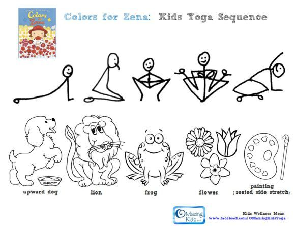 Colors For Zena Kids Yoga Sequence Click Pic To Open 1 Page Pdf Free Printable Yoga For Kids Mindfulness For Kids Yoga Sequences