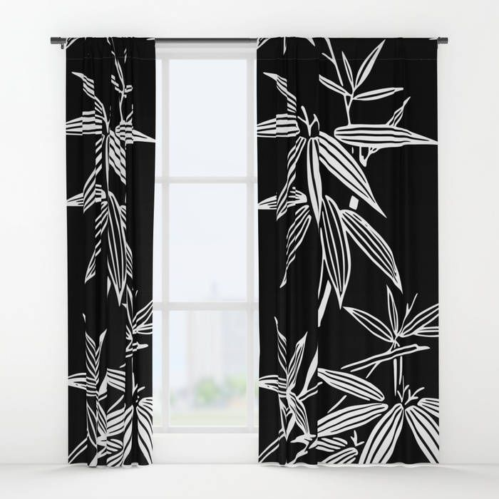 Black White Window Curtains Bamboo Curtain Panels Leaf Print Kimono Pattern Japanese Decor Tropical Glam Home Bold Design Maximalist By