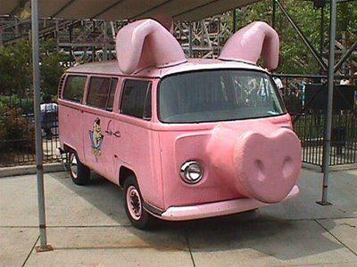 Vw Bus Pig Art Car With Images Pink Car Car Humor Weird Cars