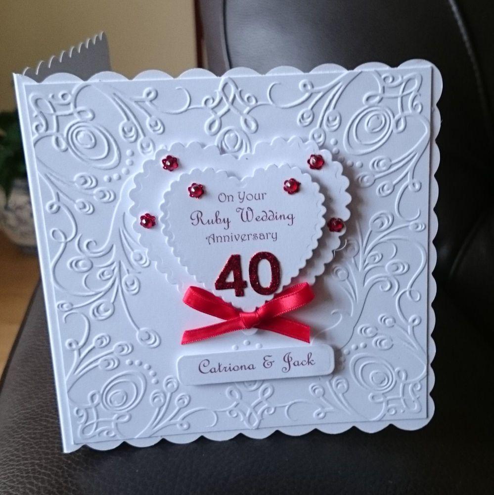 """Hand made by myself Ruby Wedding Anniversary. """"Wishing"""