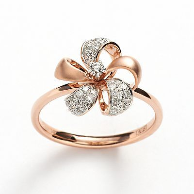 Elements by EFFY 14k Rose Gold 1/5-ct. T.W. Diamond Flower Ring