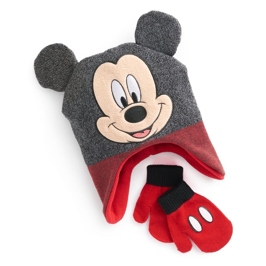 802acabde2f Disney s Mickey Mouse Toddler Boy 3D Ears Trapper Hat   Mittens Set ...