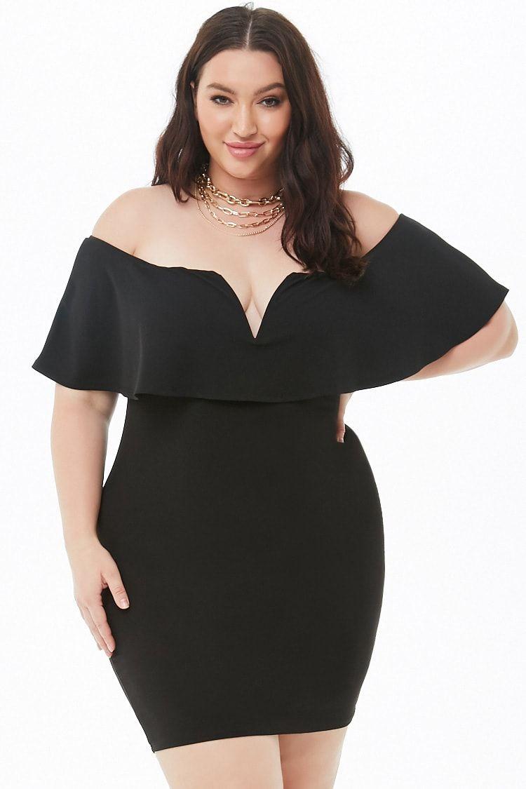 77e9c62c849a4 Plus Size Off-the-Shoulder Flounce Mini Dress