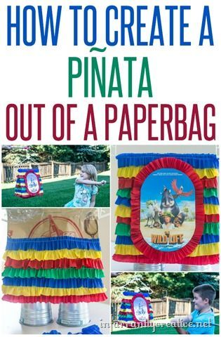 Inexpensive homemade piñata made from a paper bag