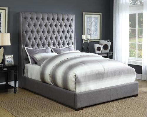Coaster Camille Grey Queen Bed Queen Upholstered Bed