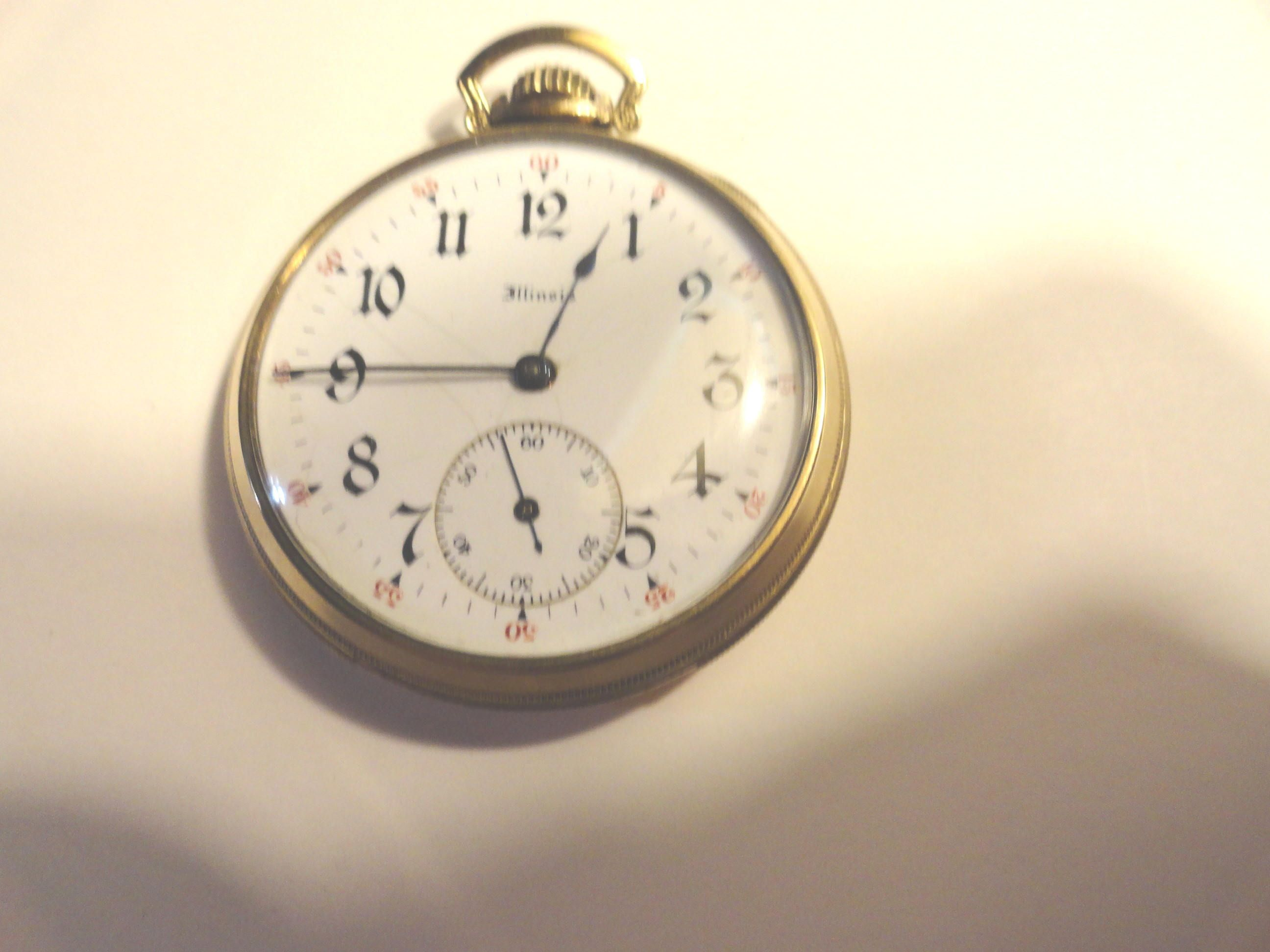 1904 Illinois Gold Filled Open Face Pocket Watch 10 Size