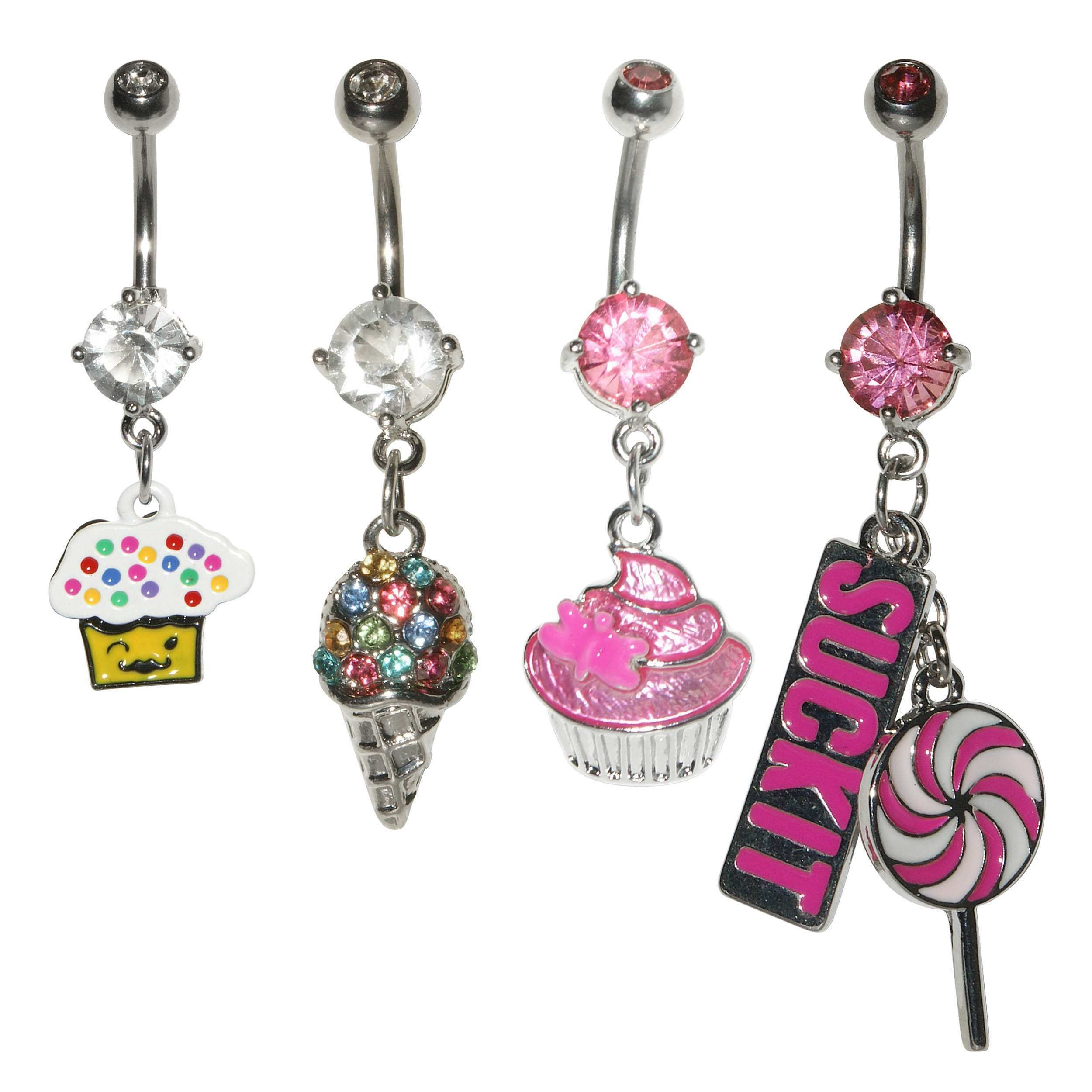 Supreme Jewelry 4-piece Girly Belly Ring Variety Pack (Girly Belly ...