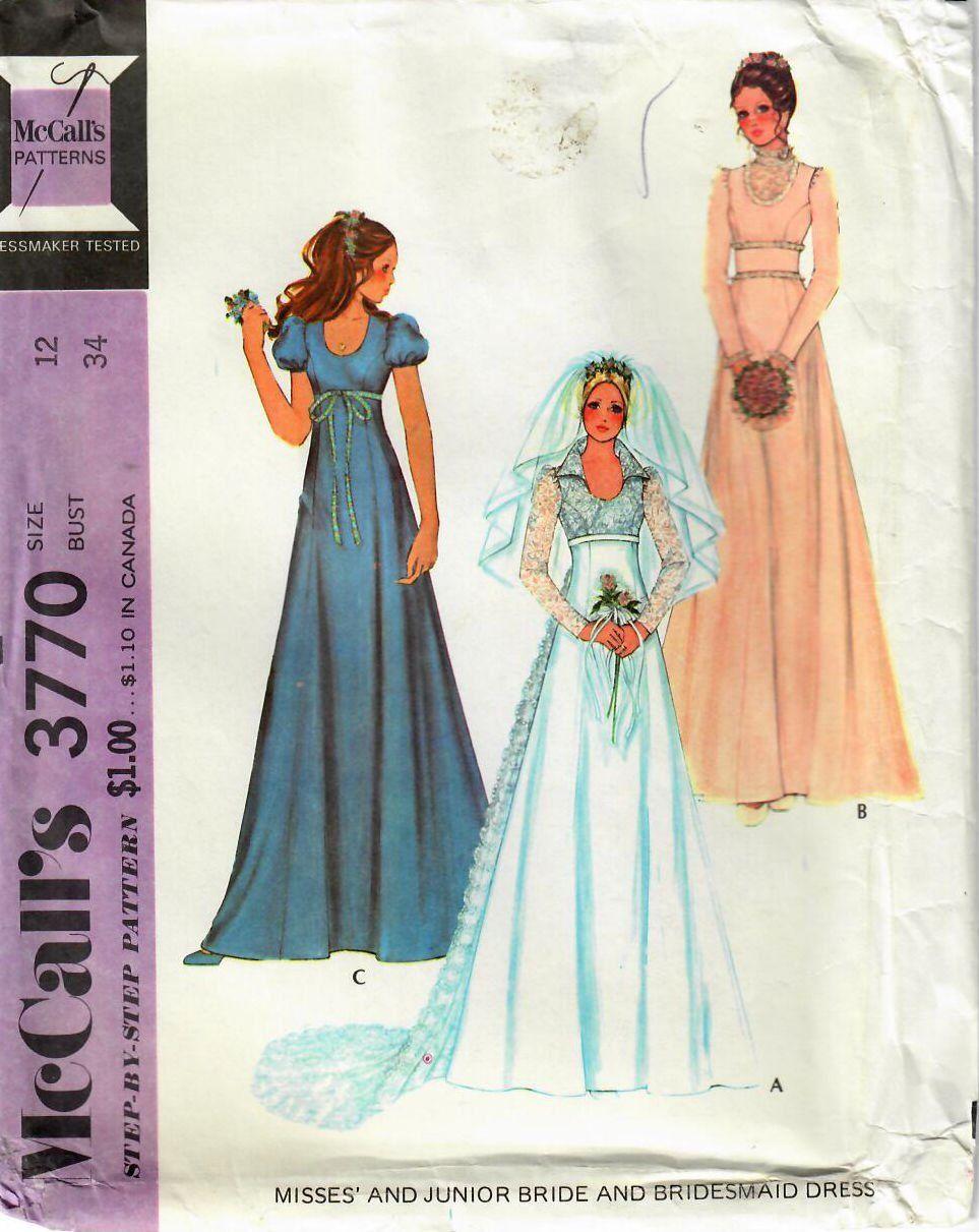 1970s Mccall S 3770 Vintage Sewing Pattern Junior Misses Etsy Pattern Dress Women Wedding Dress Patterns Vintage Long Dress [ 1211 x 963 Pixel ]