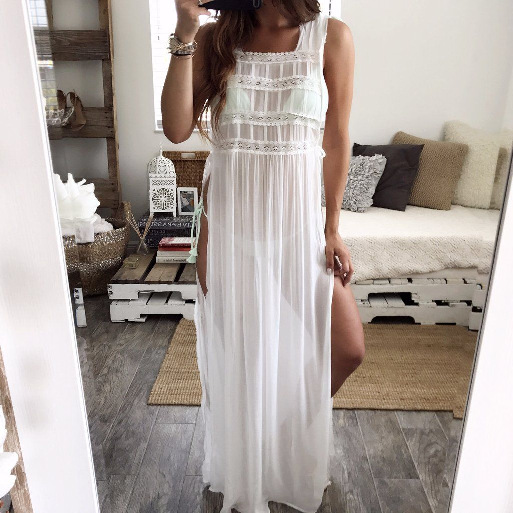 Beautiful maxi dress with open front slits and shorts inside this