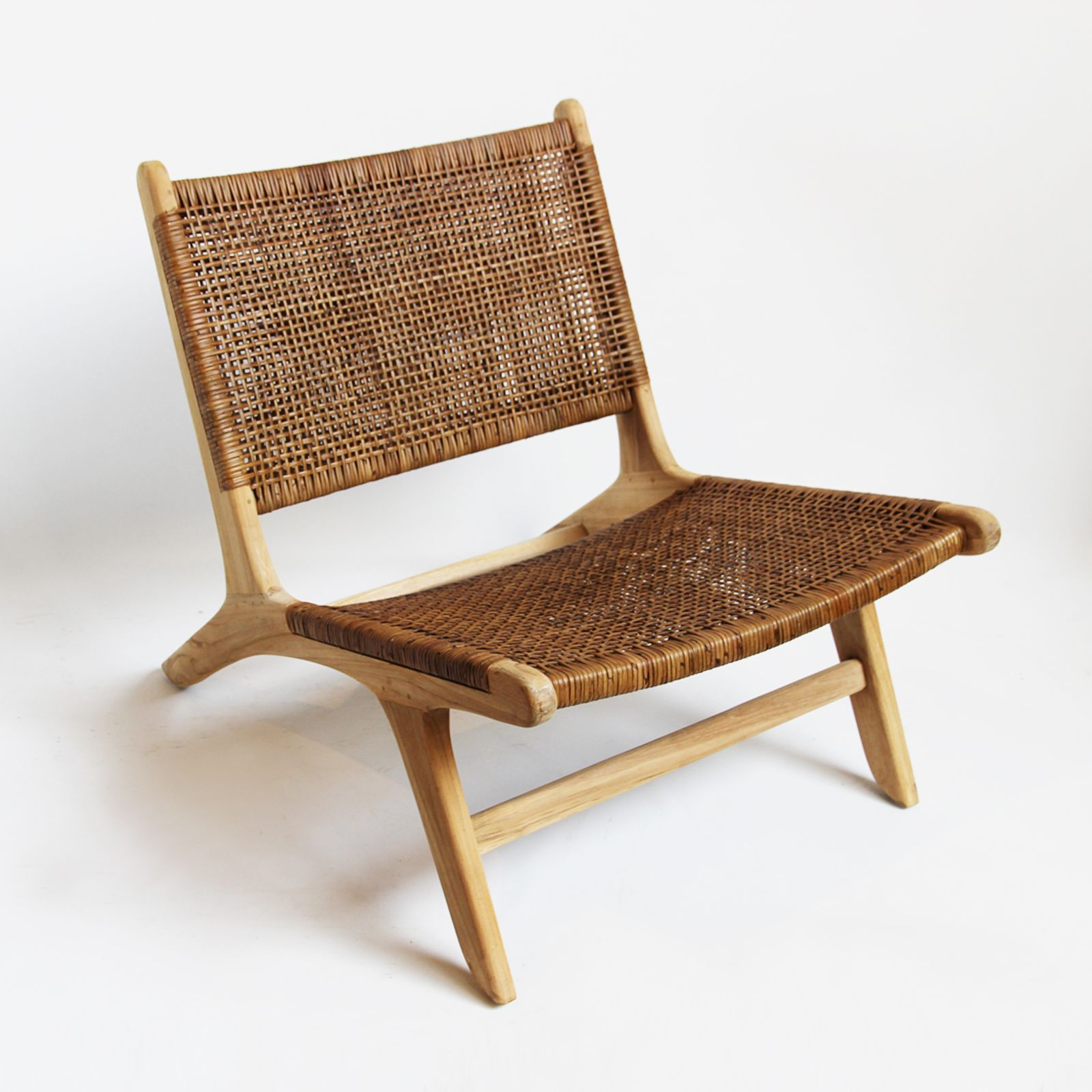 Modern Low Teak And Wicker Weaved Easy Chair. Beautiful Smooth Sanded Teak  Wood With Coffee